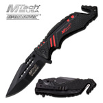 MTech Tactical Spring Assisted Knife Dual Blade Seat Belt Cutter
