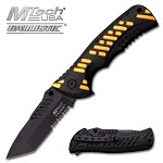 M-Tech Dash Gold Spring Assisted Knife - Tanto Black Serrated Blade