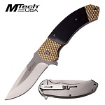 M-Tech Bruiser Gold Pakkawood Spring Assisted Knife - Satin Plain Blade