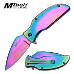 Rainbow Titanium Coated Standard Spring Assisted Folding Pocket Knife