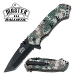 Army Digital Camo Black Tanto Serrated Spring Assist Tactical Folding Knife