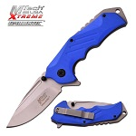 Mtech Silver Blade Blue G10 Tactical Utility Spring-Assist Folding Knife