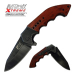 Mtech Heavy Tactical Spring Assist Knife With Brown Handle