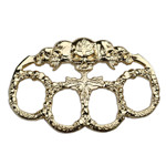 Skull Gold Paperweight Goth Punk Biker Knuckle Duster