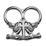 Silver Two Finger Gothic Cross Skull Paperweight Biker Knuckle Duster