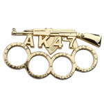 Gold AK-47 Rifle Paperweight AK47 Gun Knuckle