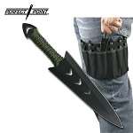 Throwing Knife Set with Six Knives, Black Blades, Green Cord-Wrapped Handles