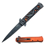 Heavy Duty Fierce Dragon Spring Assisted Knife Damascus Pattern Blade
