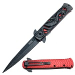 Heavy Duty Red Fierce Dragon Spring Assisted Knife Damascus Pattern Blade