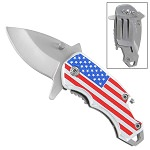American Flag Handle Spring Assist Bottle Opener Pocket Knife With Money Clip