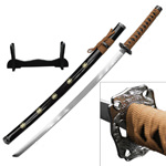 Brown Dragon Sakura Samurai Sword With Stand