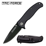 Tac-Force All Black Drop-Point Blade Spring-Assisted Folding Pocket Knife
