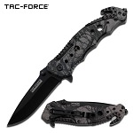 Camo Black Blade Rescue EDC Spring-Assist Folding Pocket Knife