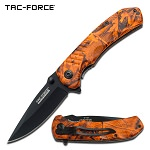 Orange Camo Handle Spring Assisted Knife With Pocket Clip - 4.25