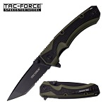 Rapid Green Spring Assisted Knife - Black Tanto Serrated
