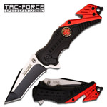 Firefighter Tanto Blade Spring-Assisted Rescue Folding Knife with Glass Break