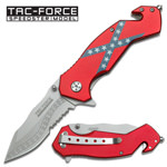 Rebel Flag Tactical and Rescue Spring Assisted Folding Pocket Knife