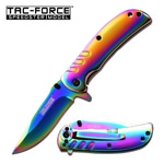 Spring Assisted Knife 3.5 Inch Closed Rainbow Ti-Coating Handle