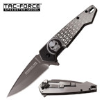Midnight Ops Gray Titanium Blade Skull EDC Spring Assisted knife