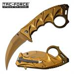 Gold Hawkbill Blade Tactical Spring Assisted Folding Knife