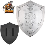 Silver Rampant Lion Bravery Medieval Battle Foam Cosplay Shield