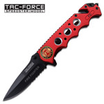 Fire Fighter Red Rescue Handle Spring Assist Folding Pocket Knife