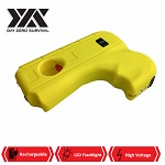 DZS Yellow Hand Pistol Stun Gun LED Light Rechargeable Battery