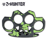 Zombie Green and Black Skull Head Knuckle Belt Buckle