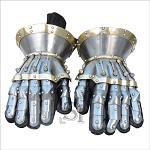 Functional Large Steel Princely Hourglass Gauntlets Leather Gloves