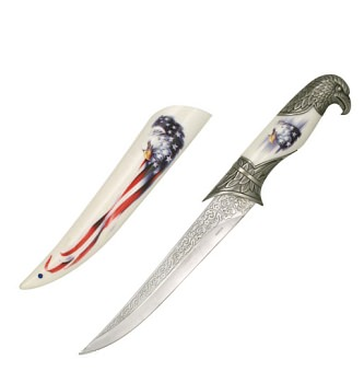 Collector's Patriotic Eagle Fixed Blade Hunting Knife Bowie