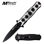 Spring Assisted Folding Pocket Knife With Cannabis Design