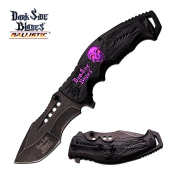 Dark Side Blades Ballistic Skull Medallion Spring Assisted Open Knife Purple