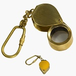 Folding Magnifying Glass Brass Keychain Nautical Key Ring