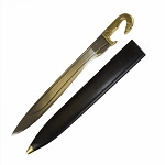 Greek Falcata Warrior Sword With Scabbard Brass Handle