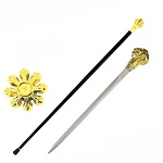 Golden Crown Knob Walking Cane Sword