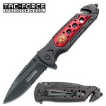 Fire Fighter Madallion Mounted Spring Assisted Folding Pocket Knife
