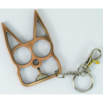 Cat Self Defensive Key Chain Copper Finish
