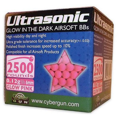 Ultrasonic Glow In The Dark Pink 6mm BBs 2500 Count