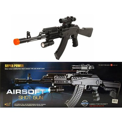 Spring Tactical AK47 Rifle Airsoft Gun With Laser AND Flash Light AIR SOFT