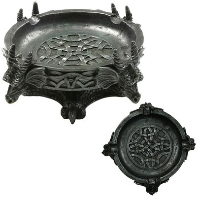 Four Dragons Round Novelty Polyresin Ashtray