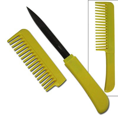 Yellow Comb WIth Hidden Knife