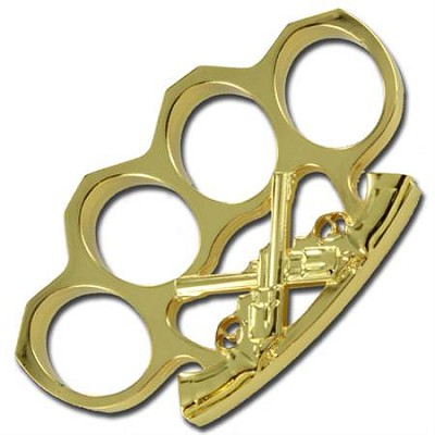 Wild West Gun Slinger Knuckle Buckle Gold