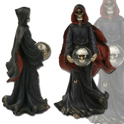 6.5 Inch Height, 3.2 Inch Wide. Grim reaper holding crystal