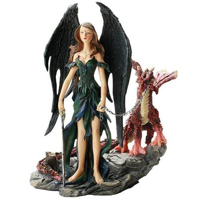 Polyresin Fantasy angel with red dragon