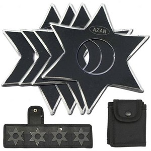 4 Pcs Dark Ninja Throwing Star Set W- Pouch