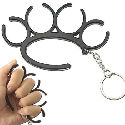 Self Defense Open Duster Knuckle Keychain Black