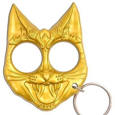 Self Defense Evil Cat Keychain Gold