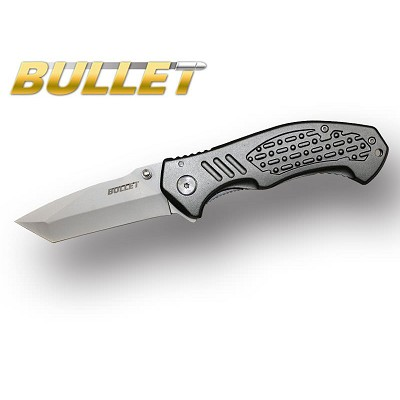 BULLET Tanto Blade Spring Assisted Opening Knife - Grey Handle