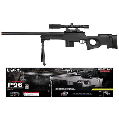 P96 Airsoft Tactical MK96 Sniper Rifle - Bipod, Scope, and Laser