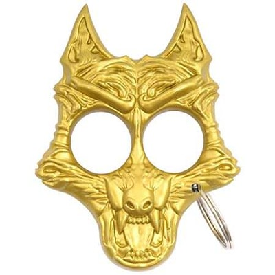Savage Wolf Self Defense Keychain - Gold